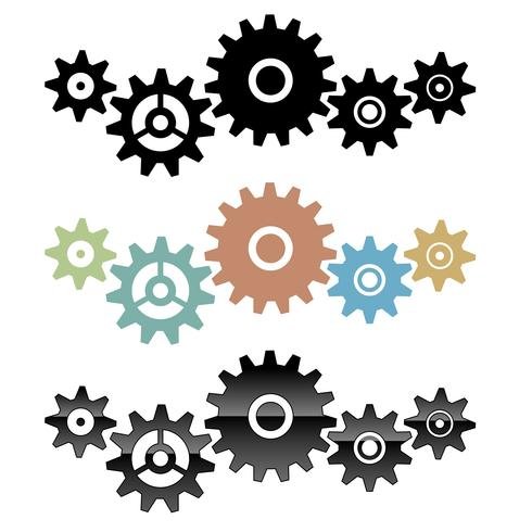 Group of connected gears vector isolated illustration