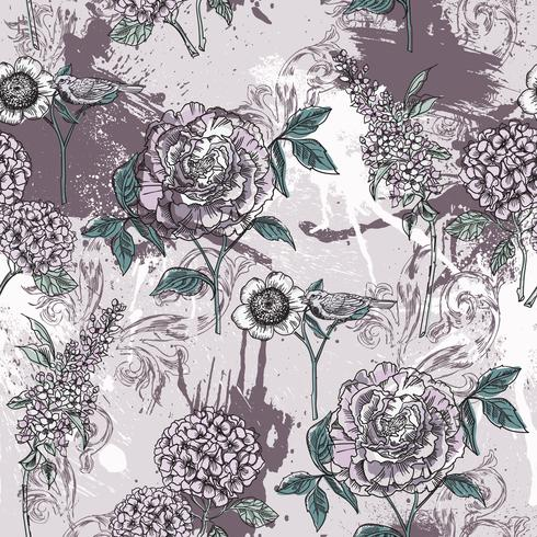 Eclectic floral seamless pattern with spray paint.