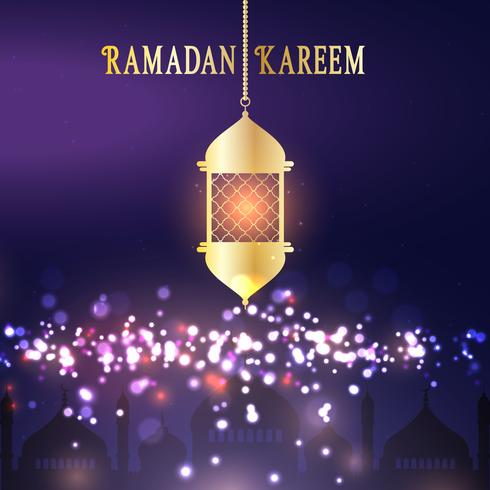 Ramadan Kareem background with hanging lantern vector