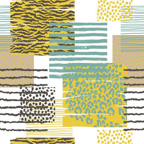 Abstract seamless pattern with animal print. Trendy hand drawn textures