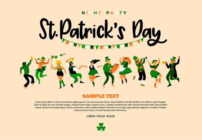 Saint Patricks Day Background Design With People Dancing vector