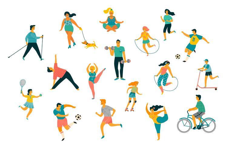 Día mundial de la salud. Ilustración vectorial de personas que llevan un estilo de vida activo y saludable. vector