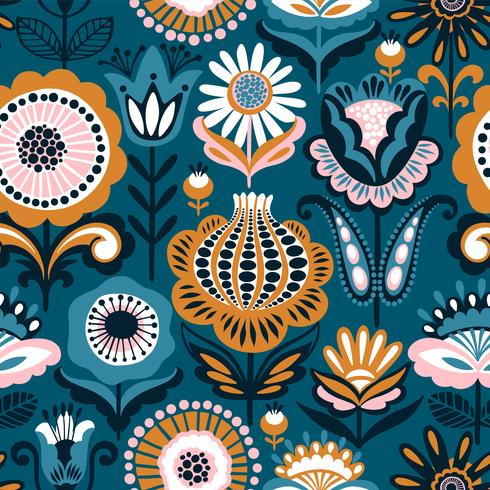Folk floral nahtlose Muster. Modernes abstraktes Design