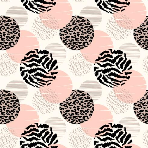 Abstract geometric seamless pattern with animal print and circles. vector