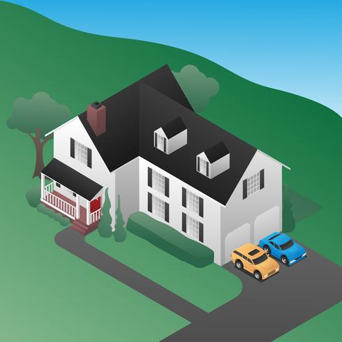 Isometric 3D Country House Vector Illustration - Download Free Vector Art, Stock Graphics & Images