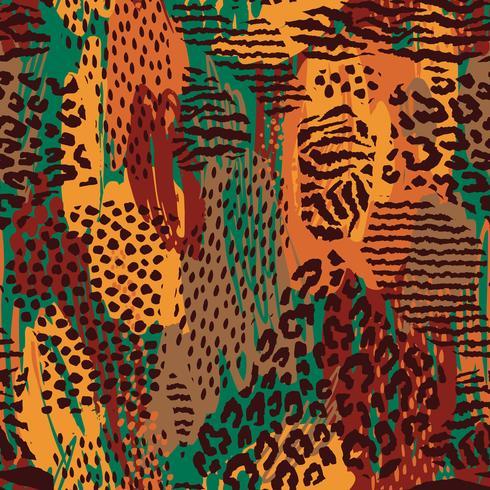 Resumo padrão sem emenda com animal print. Mão na moda desenhado texturas.