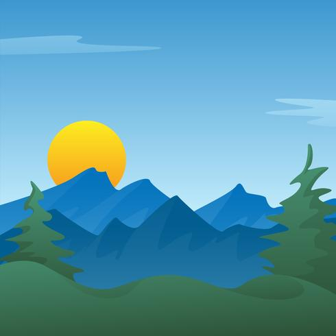 Peaceful blue mountain landscape scene background with pine trees, rolling hills