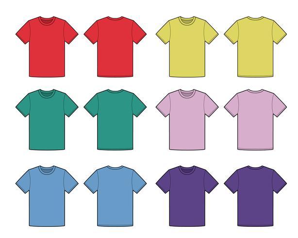 Flache technische Zeichnungsschablone der grundlegenden T-Shirt Mode
