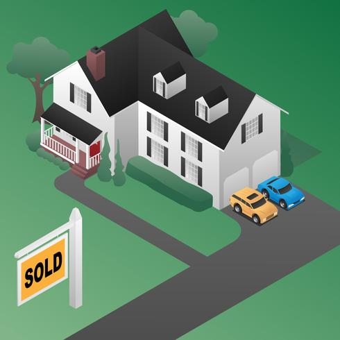 Real Estate Sold Tecken med House Isometric 3D Style Vector Illustration