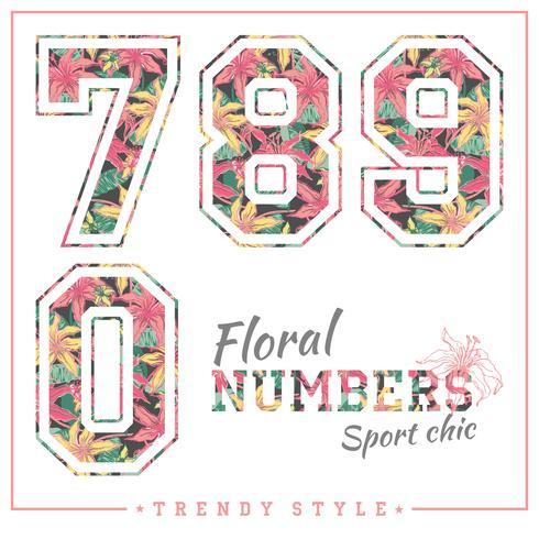 Vektor blommiga nummer för t-shirts, affischer, kort och andra användningsområden.