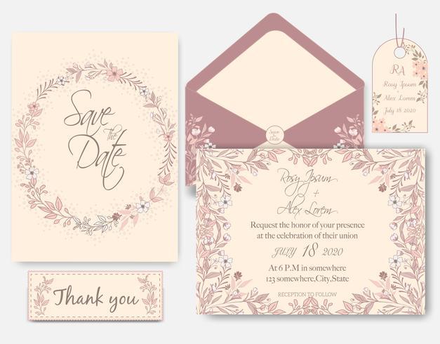 Tarjeta de invitación de boda con plantillas de flores