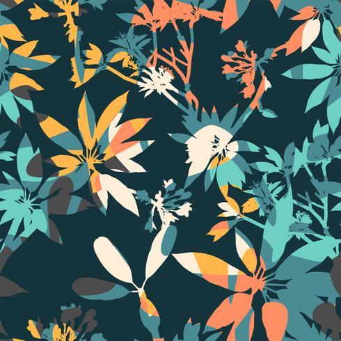 Abstraktes nahtloses mit Blumenmuster mit modischen Hand gezeichneten Beschaffenheiten.