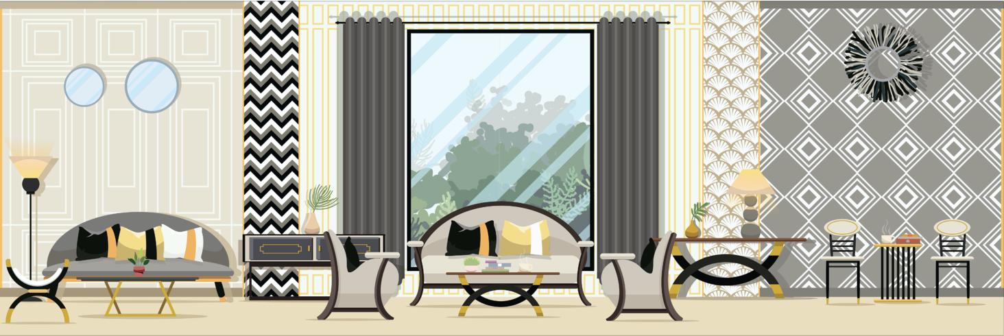 Interieur Moderne klassieke woonkamer met meubilair. Platte ontwerp vectorillustratie