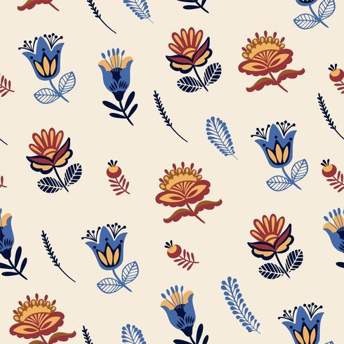 Folk floral nahtlose Muster.