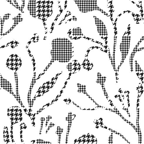 Abstract flowers with hounds-tooth plaid pattern.