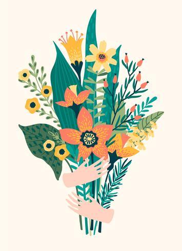 Vektor illustration bukett blommor i händerna.