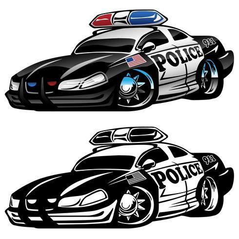 Policía Muscle Car Cartoon Vector Illustration