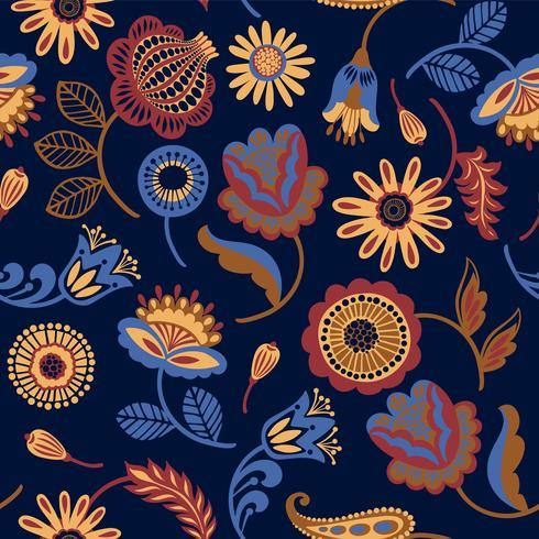 Folk floral de patrones sin fisuras. Diseño abstracto moderno