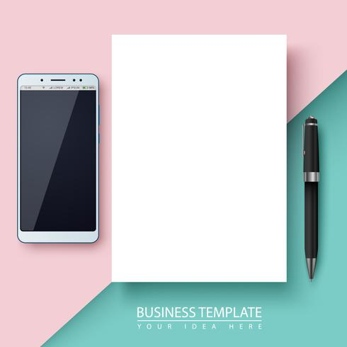 Business template. Paper, smartphone, pen.