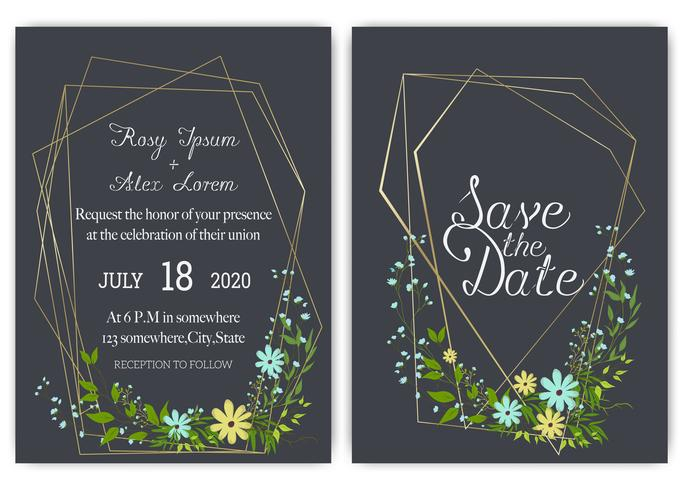 Floral hand drawn frame for a wedding invitation vector
