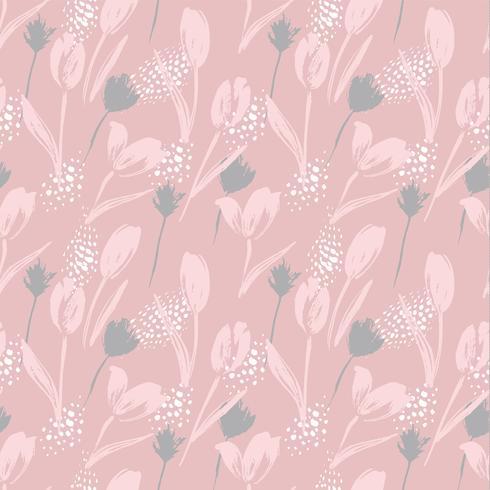Abstrakta blommor sömlösa mönster tulpaner. Trendiga handdragen texturer.