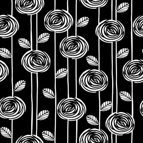 Abstrakt blommönster sömlöst mönster med rosor. Trendiga handdragen texturer.