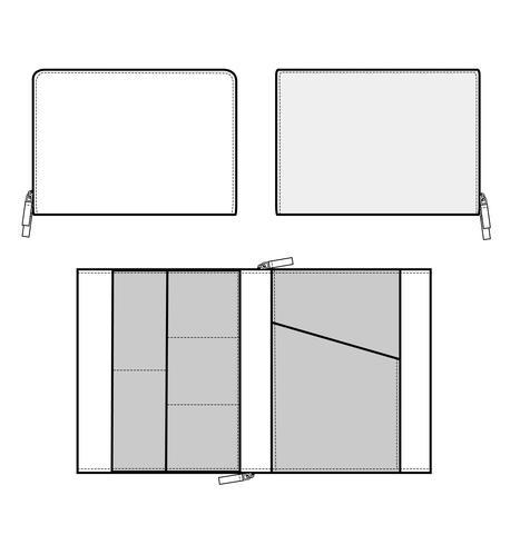 Clutch design illustration flat sketches template