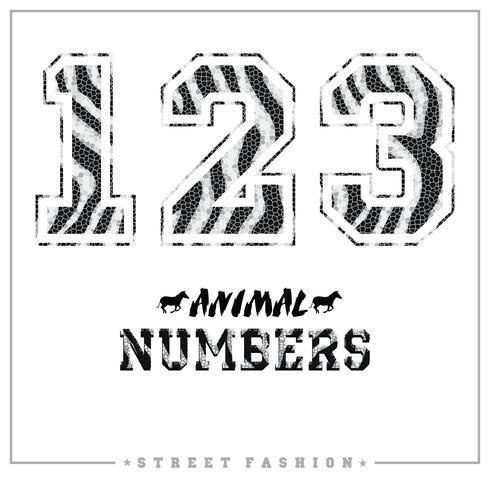 Números de mosaico de animais para camisetas, cartazes, cartões e outros usos.