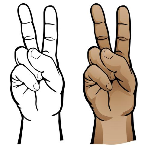 Hand Peace Sign Vector Illustration
