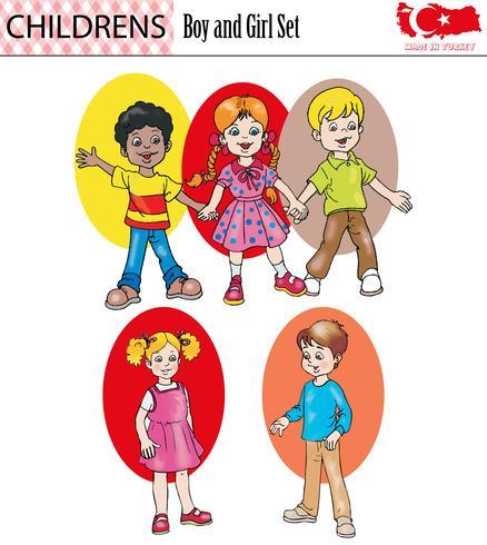 Boy and girl character set, vector, eps