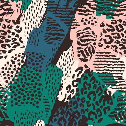 Abstract seamless pattern with animal print. vector