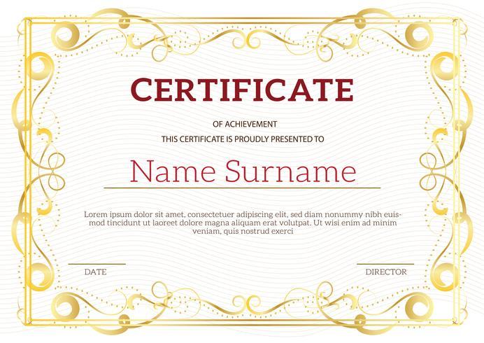Vintage golden classic certificate of achievement template
