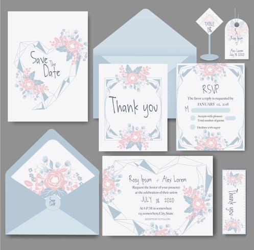 Hochzeitseinladungskarte mit Blumenvorlagen