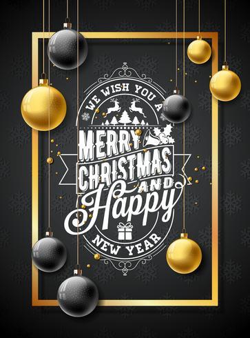 Merry Christmas Illustration on Black Snowflake Background