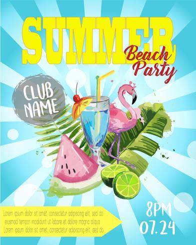 Vector zomer Beach Party Flyer Design.
