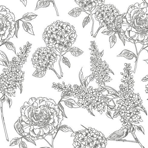 Jardín victoriano. Patrón floral sin fisuras Ilustracion vectorial vector