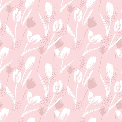 Abstract floral seamless pattern tulips .Trendy hand drawn textures