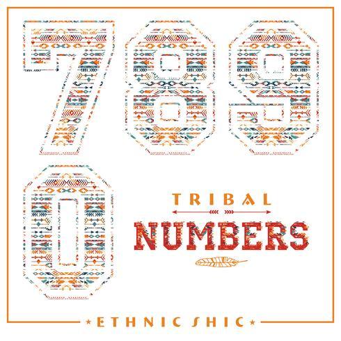 Chiffres ethniques tribaux pour t-shirts, affiches, cartes et autres usages.