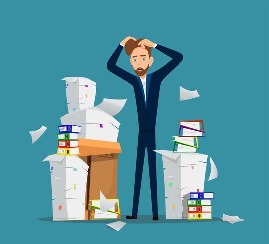Businessman stands among pile of office papers. Vector illustration.