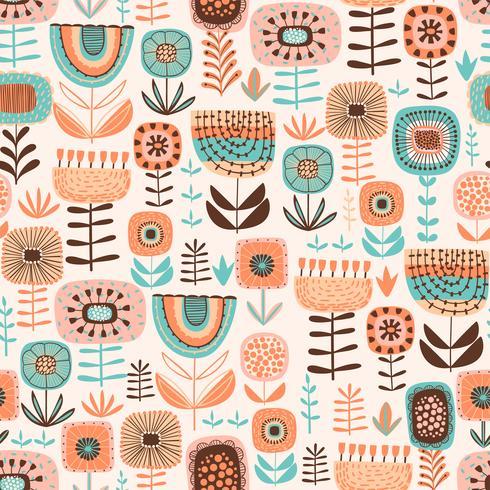 Folk bloemen naadloos patroon. Modern abstract ontwerp