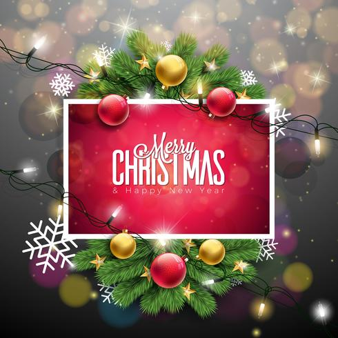 Merry Christmas Illustration on Shiny Red Background