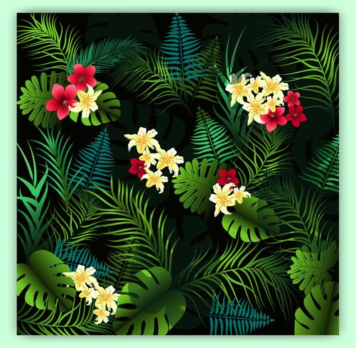 Tropical floral seamless vector pattern background