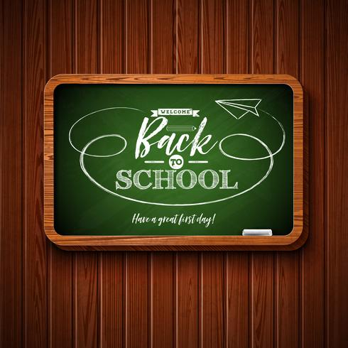 Back to school design with chalkboard and typography lettering