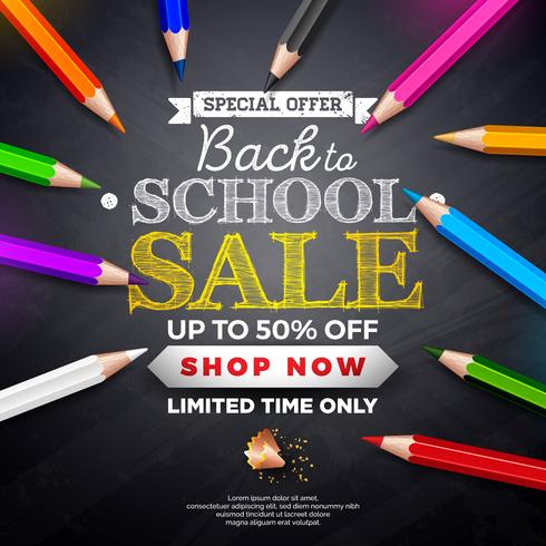Back to school sale design with lettering on black chalkboard background