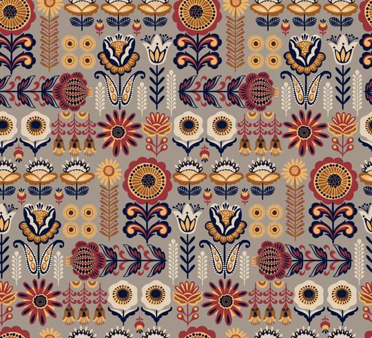 Folk bloemen naadloos patroon. Modern abstract ontwerp.