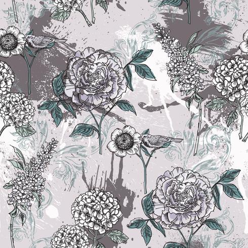 Ecléctico patrón floral sin fisuras con pintura en aerosol.