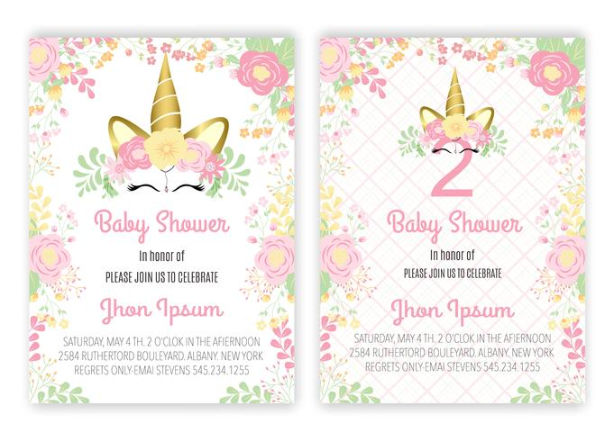 Unicorn blommig unicorn dekor kort baby shower
