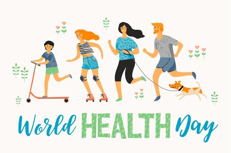 Världshälsodagen. Hälsosam livsstil. Sportfamilj.