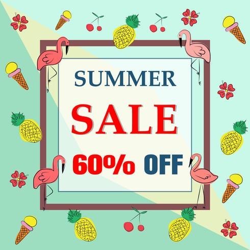 Vector summer pattern  background with flamingo birds
