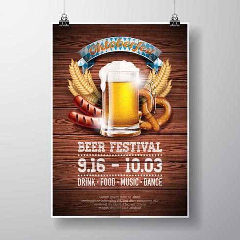 Illustrazione di vettore del manifesto di Oktoberfest con birra chiara fresca sul fondo di legno di struttura.